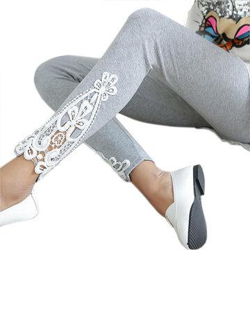 Lace Patchwork  Cotton Leggings