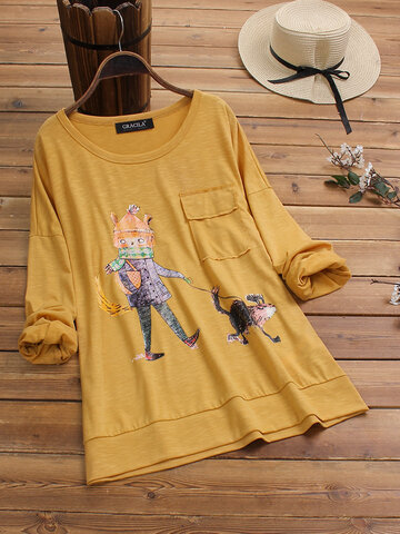 Stampa Cartoon Casual T-Shirt
