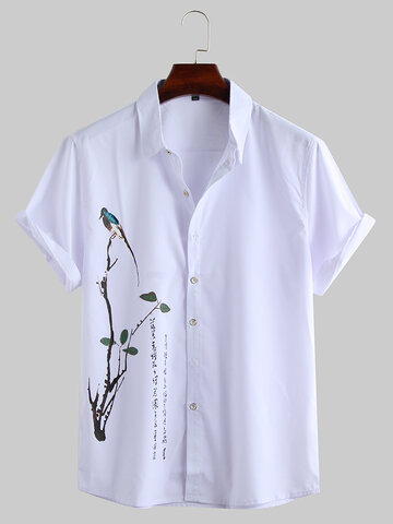 Chinese Painting Print Turndown Collar  Shirt