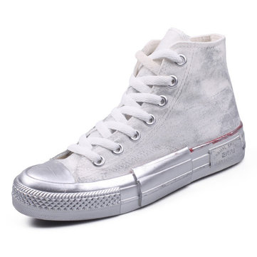 Vogue High Top Lace Up Canvas Sneakers