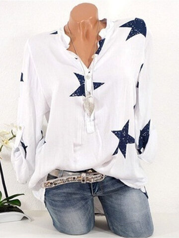 Star Print Loose Casual Blouse