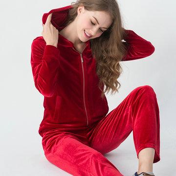 Pijama macio de flanela com capuz com zíper frontal