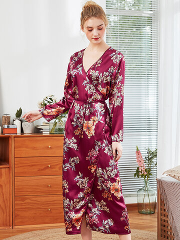 Floral Silk V Neck Long Robe