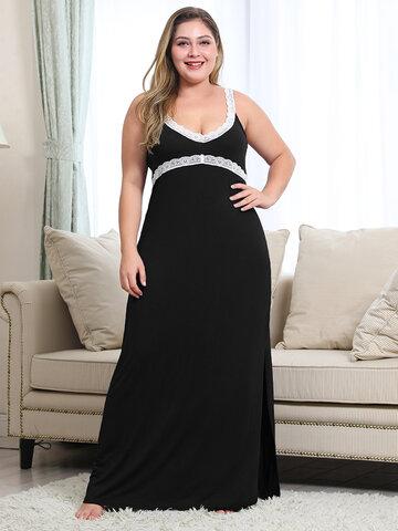 Plus Size Lace Trim Long Soft Nightdress
