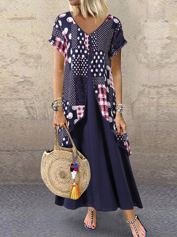 Polka Dot Imprimir Patchwork Maxi Dress