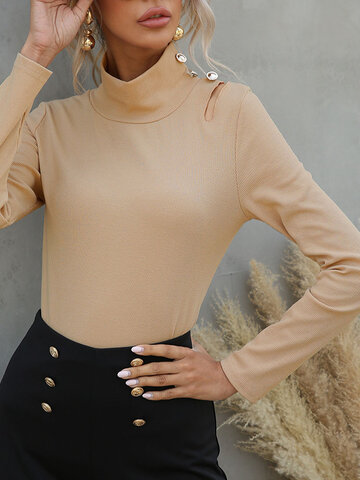 High Neck Ripped Solid T-shirt