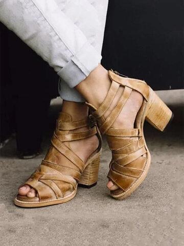 Zipper Chunky High Heel Sandals