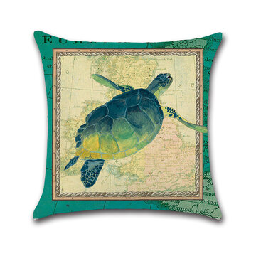 Retro Blue Sea Turtle Horse Cotton Linen Cushon Cover