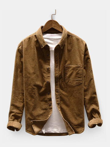 Men Casual Corduroy Shirt Loose Shirt Coat