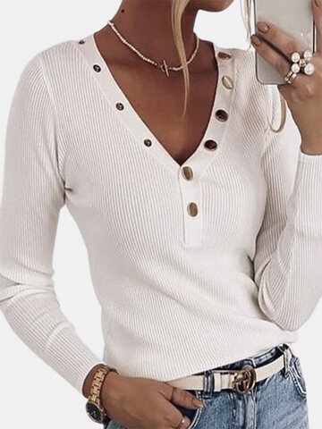 Solid V-neck Button Basic Sweater