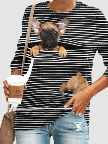 Cartoon Dog Print Striped T-shirt