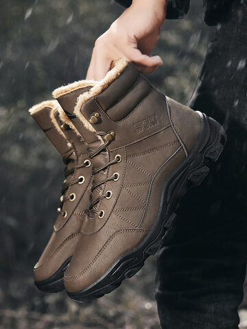 Men Outdoor Cold Resistance Warm Hiking Boots