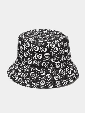 Unisex Cartoon Skull Flower Bucket Hat