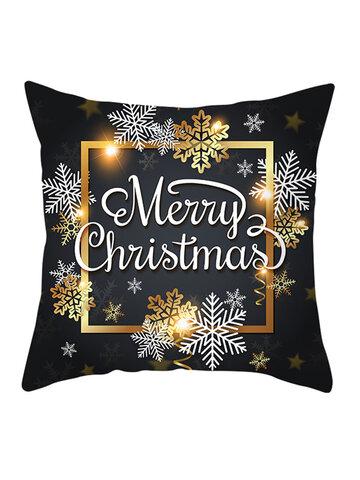Golden Black Christmas Series Microfiber Cushion Cover