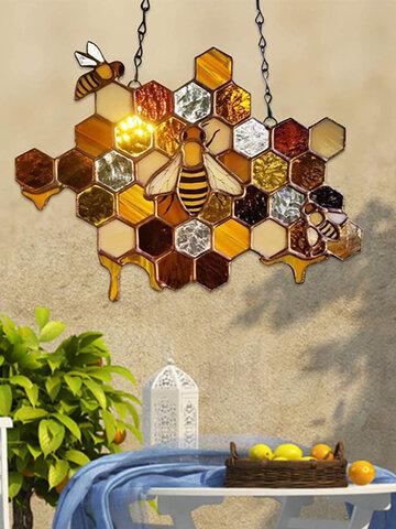 1 PC Acrylic Honeycomb Bee Printing Home Garden Suncatcher Pendant Wall Hanging Multi-Purpose Decoration