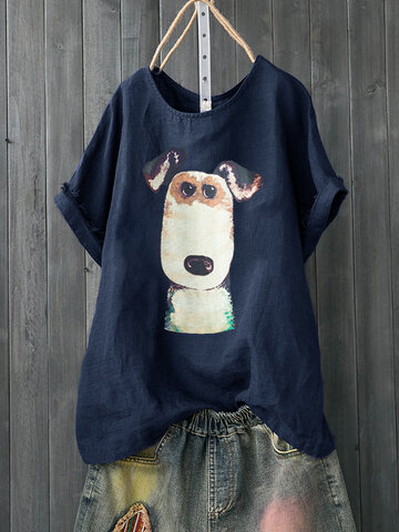 Cartoon Dog Print Casual T-shirt