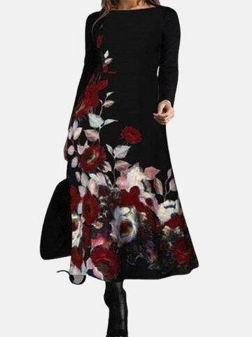 Lässiger Kalikodruck Kleid