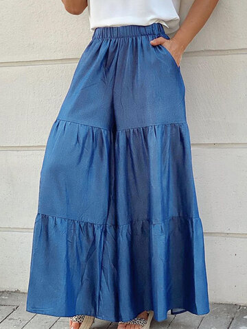 Solid Tiered Palazzo Pants