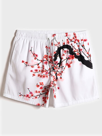 Peach Blossom Painting Swim Trunks
