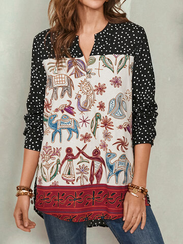 Ethnic Print Patchwork Button Blouse