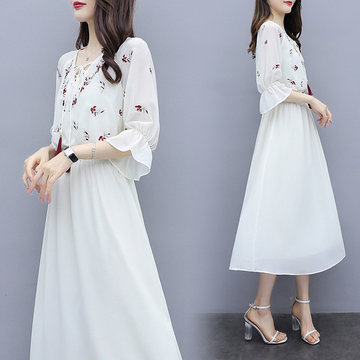 Very Immortal French Niche Retro V-neck A Skirt Female White Chiffon Embroidered Dress New Day