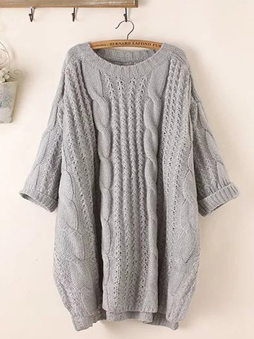 Solid Color 3/4 Sleeve Sweater фото