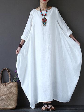 Vestido retro amplio de color puro para mujeres