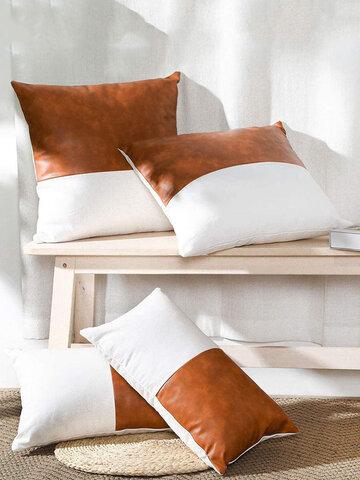1PC Linen Stitching Creative Nordic Home Sofa Couch Car Bed Decorative Cushion Pillowcase Throw Cushion Cover Lumbar Waist Pillow Cover
