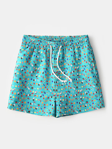 Green Cartoon Games Graphic Shorts with Lining