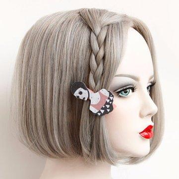 Europe Retro Headwear Vintage Girl's Cartoon Cotton Hair Clip