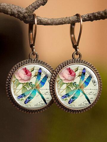 Dragonfly Pattern Glass Earrings