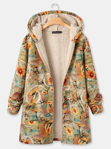 Винтаж Пальто с капюшоном и принтом хризантем