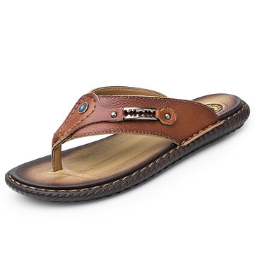 Men Leather Non Slip Casual Beach Slippers