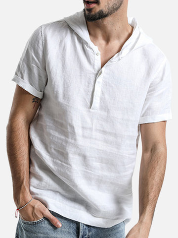Hooded Short Sleeve Cotton Henley Shirts