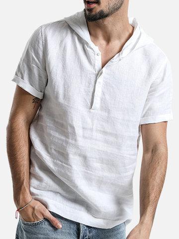 Kurzärmlige Baumwoll-Henley-Shirts mit Kapuze