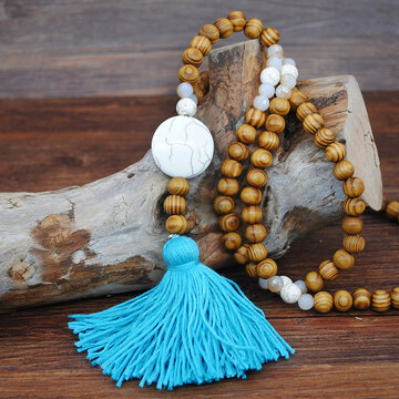 Wooden Beads Tassel Necklace