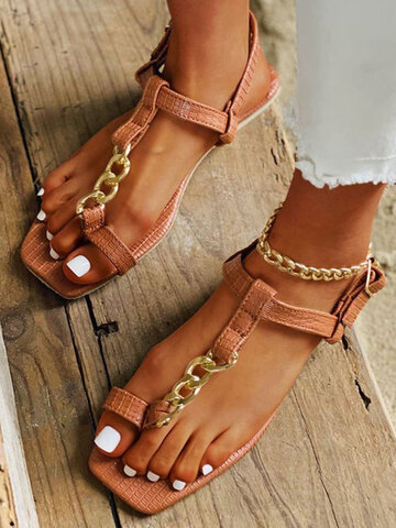 Women Chain Decor Patchwork Toe Ring Square Toe Casual Flat Sandals