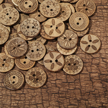 50Pcs Coconut Shell Sewing Buttons