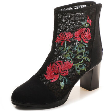 Embroidered Hollow Canvas Boots