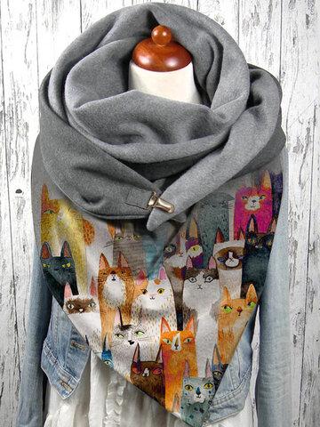 Donna Colorful Cartoon Cute Cats Modello Soft Sciarpa