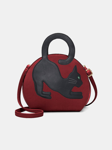 Cat Pattern Expandable Handbag
