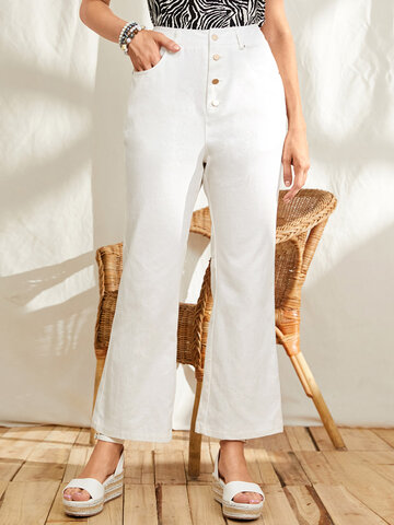Solid Color Cotton Flared Jeans