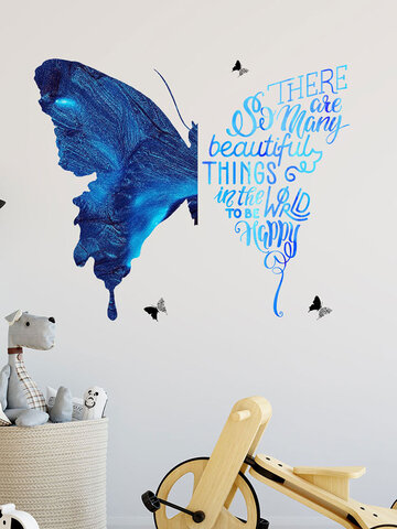 4PCS Butterfly Letter Pattern Self-adhesive Removable Home Decor Wall Sticker For Living Room Bedroom Background Wall