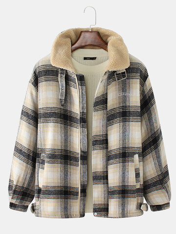Plaid Sherpa Lined Thicken Overcoats