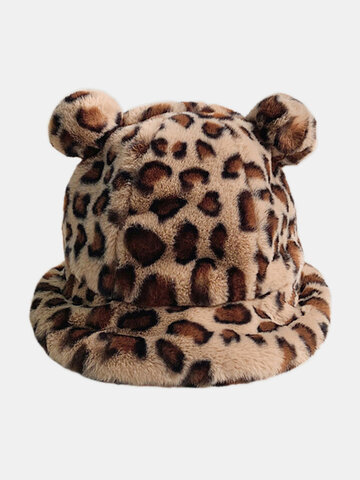Women Faux Rabbit Fur Soft Casual Animal Ear Pattern Bucket Hat