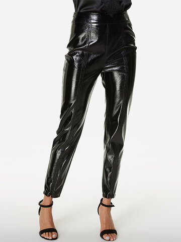 Solid Color Leather Casual Pants