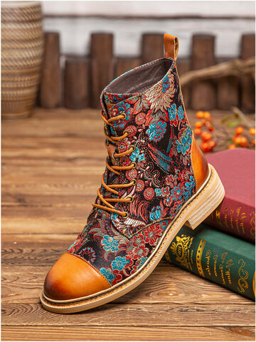 SOCOFY Prosperous Flowers Cloth Stitching Cap Toe Leather Short Boots