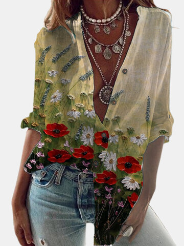 Casual Floral Printed Shirt