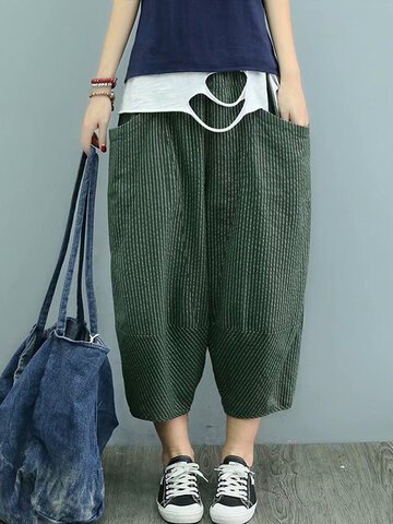 Pockets Stripe Casual Pants
