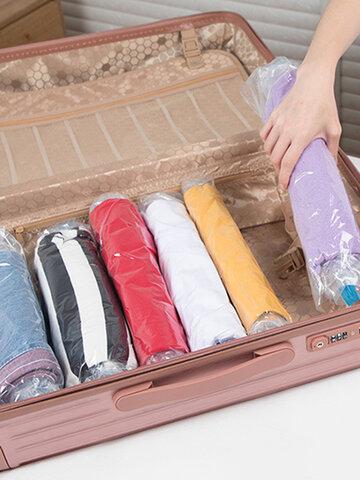 10 Pcs Hang Roll Vacuum Compression Clothes Storage Bag